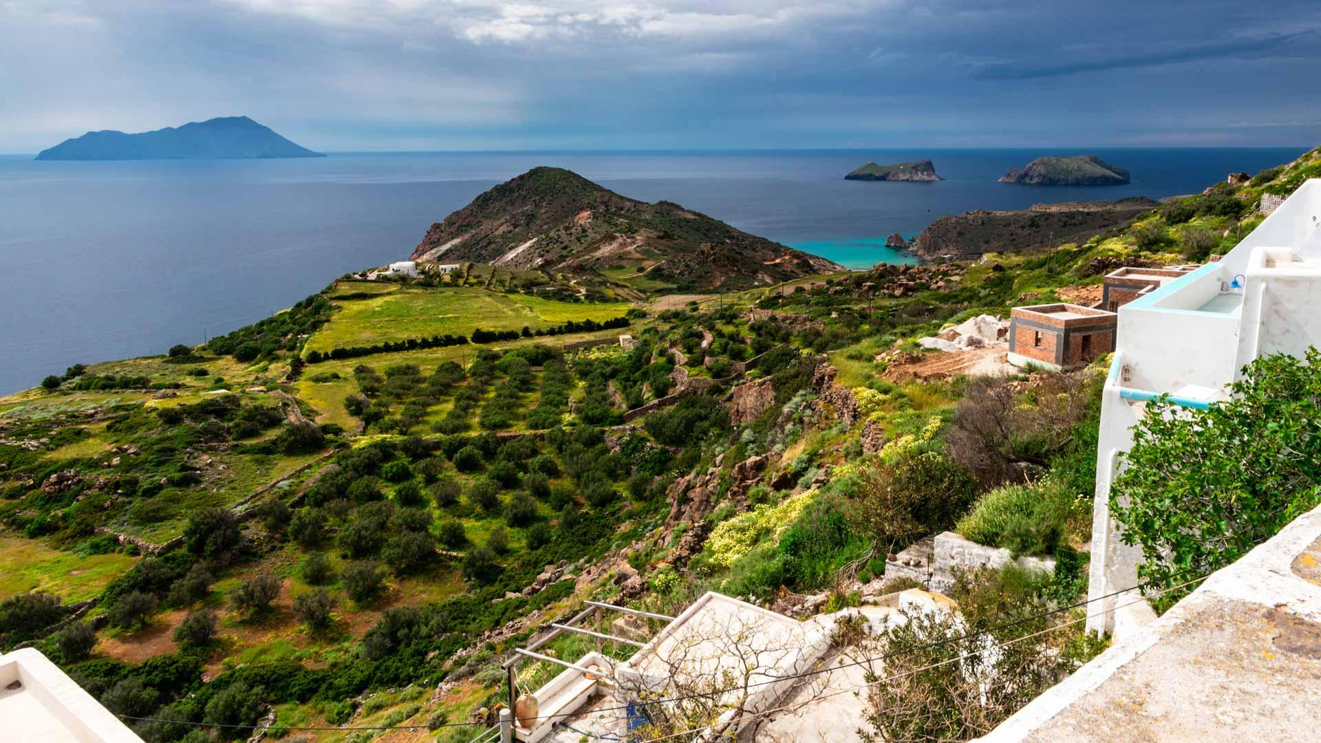 View from Plaka, Milos island, Cyclades, Greece