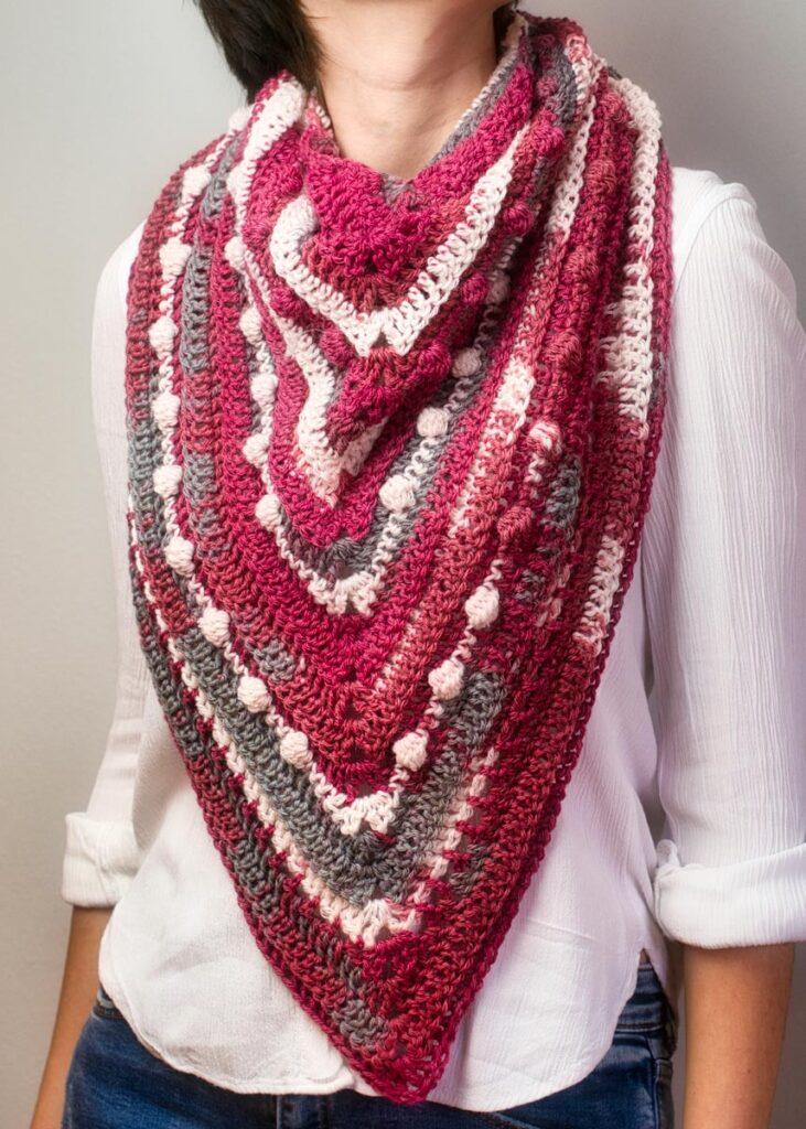 Triangular scarf Cherry Marble