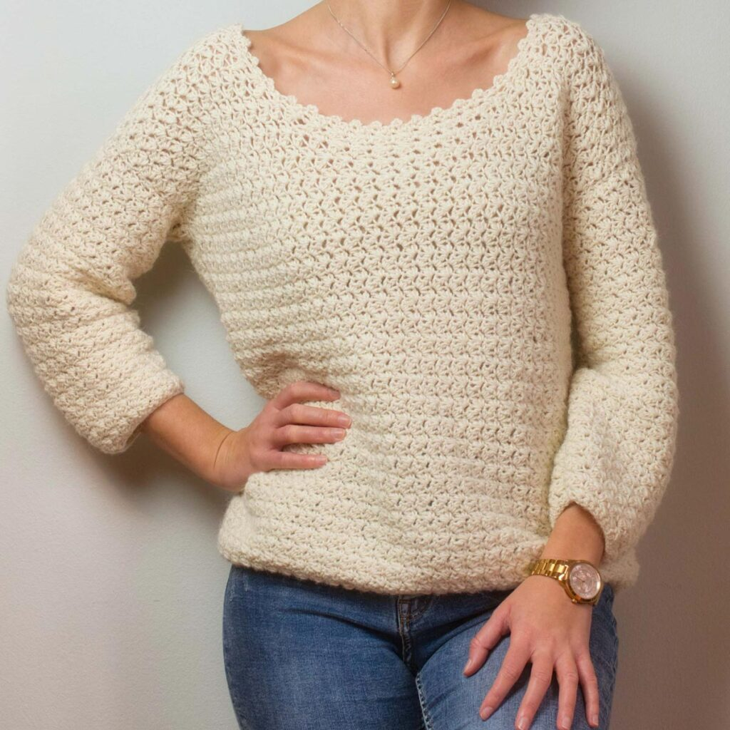 Crochet handmade pullover Athena front