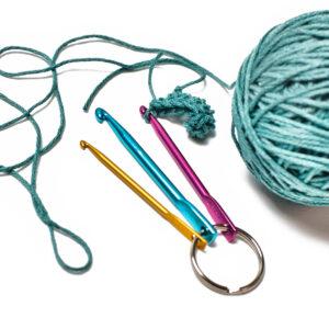 crochet hook set on a keyring